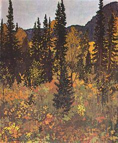"huariqueje: ""The Dark Woods Interior - Frank Johnston, 1921 Canadian, 1888-1949 Oil on panel """