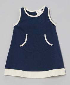 Another great find on #zulily! Navy & Cream Organic Dress - Infant & Toddler by Kids Organic #zulilyfinds