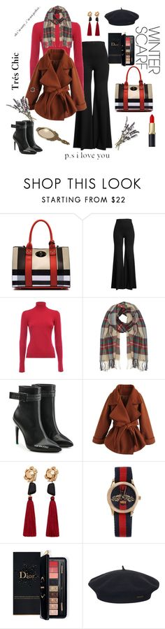 """""""winter scarves"""" by rachel-hack-1 ❤ liked on Polyvore featuring Rosetta Getty, Alaïa, M&Co, Off-White, Chicwish, MANGO, Gucci, Estée Lauder, Element and French Kiss"""