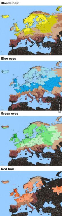 - mapsporn:  Blond hair blue eyes green eyes red hairNo legend