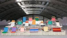 The metal-framed chairs are woven with PVC cord in designs and colors created by Marni designers.