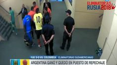 The Colombia captain continues his argument as the official approaches the flight of stairs