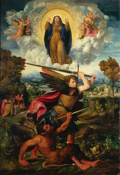 Giovanni di Niccolò de Luteri (Dosso Dossi), La Asunción de la Virgen con San Miguel Arcángel que vence al diablo, 1533
