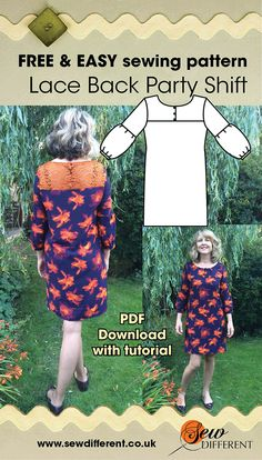 Free sewing pattern for women. We're on the countdown to party season! And what is more fun than a PARTY DRESS! The Lace Back Party Shift is a glam but understated party dress with 3/4 length sleeves and a lace panel at the back. Easy to make with instructions on the blog post!