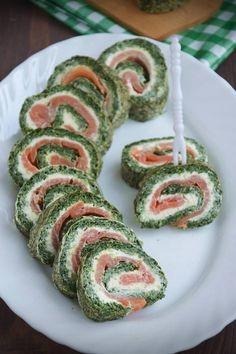 Rolada szpinakowa z łososiem Impreza, Sushi, Ethnic Recipes, Sushi Rolls