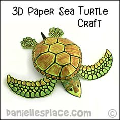 3D Sea Turtle Craft and Decoration for Sea-themed Vacation Bible School from www.daniellesplace.com