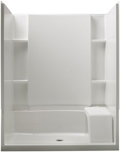 Sterling Plumbing 72290100-0 Accord 36-Inch x 60-Inch x 74-1/2-Inch Standard Fit Shower Kit with Seat, White