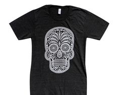 Day of the Dead T-Shirt - Sugar Skull Mens American Apparel Shirt - Available in sizes S, M, L, XL
