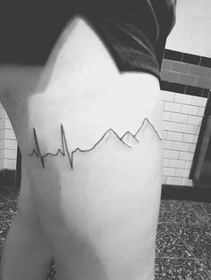 Heartbeat mountain tattoo