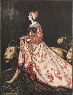 From the tale The Lady and the Lion. 'She went away accompanied by the Lions'. Illustration by Arthur Rackham from the book 'Snowdrop and Other Tales'