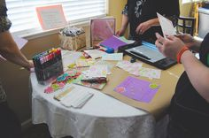 Planning on having a Scrapbooking table at my shower. Its a neat way for your guest to make their own page in your scrapbook for you baby. Going to ask my guest to leave room for 1-2 pictures and a 3X5 index card. On the card I want them to write down advice, well, well wishes for baby and sign their name. Going to take pix with everyone at my shower and add those photos to their page.
