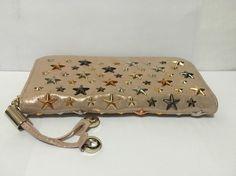 JIMMY CHOO Bag/Purse Fuchsia Filipa Leather with Stars Zip Around Wallet. New! $249.0
