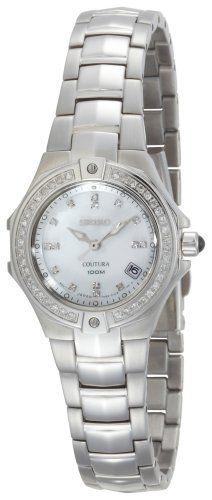 Seiko Womens SXDA37 Coutura Diamond SilverTone Watch *** Want additional info? Click on the image.