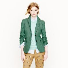J. Crew Hacking jacket in dusty jade herringbone. Paired with indigo or frayed boyfriend jeans = perfect combo for fall.