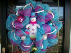 Pink and Blue Snowman