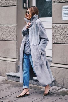 long grey coat , leopard kitten heels, jeans