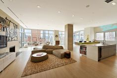 Open plan living and dining area receives lots of light in this NYC penthouse. [1472 × 982] - Interior Design Ideas, Interior Decor and Designs, Home Design Inspiration, Room Design Ideas, Interior Decorating, Furniture And Accessories