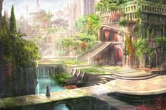kind of imagine the castle in TWK to have been built based off the Hanging Gardens idea. Hanging Gardens of Babylon - Reproduction Fantasy City, Fantasy Castle, Fantasy Places, Fantasy World, Fantasy Art Landscapes, Fantasy Landscape, Landscape Art, Fantasy Concept Art, Fantasy Artwork