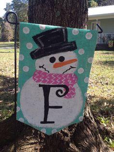 Burlap Snowman with Initial Yard Garden Flag Christmas Winter Outdoor Decor by Burlapulous on Etsy