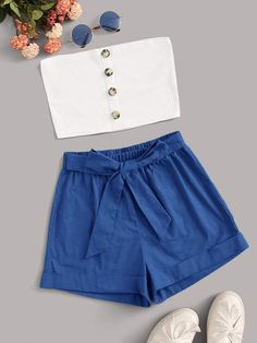 Button Through Tube With Tie Front Shorts Source by Outfits shorts Teenage Girl Outfits, Cute Comfy Outfits, Cute Casual Outfits, Pretty Outfits, Stylish Outfits, Kids Outfits, Cute Summer Outfits For Teens, Girls Fashion Clothes, Summer Fashion Outfits