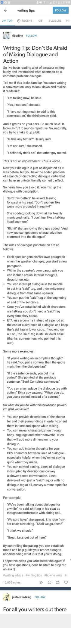 I LOVE THIS!!  Great tips for the writers who struggle with dialogue or just want a refresher