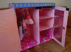 Cardboard Wardrobe for doll clothes storage. Love it!