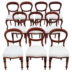 Set of 10 Antique Dining Chairs, Set Of 10 Victorian Mahogany Dining Chairs. Antique harlequin set of 10 plus 4 plus Victorian mahogany balloon back dining chairs Swivel Dining Chairs, Swivel Chair, Table And Chairs, Victorian Dining Tables, Antique Dining Chairs, Clean Design, Balloons, Antiques, Furniture