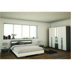 Kompletní moderní ložnice Defy, barevné provedení bílá / šedá, ložnice Defy obsahuje postel, 2 ks nočních stolků a velkou skříň.