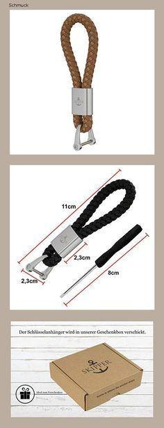 Skipper Schlüsselanhänger aus Kunst-Leder und Edelstahl - Beige 7283 - 14h4 Personalized Items, Stainless Steel, Schmuck, Leather, Kunst