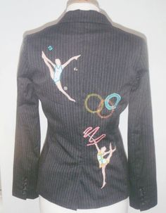 Customised Upcycled Charcoal Women's jacket with Gymnasts