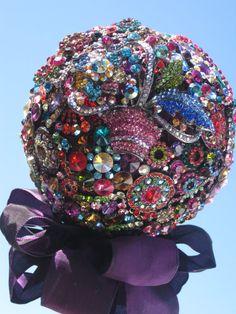Rich Jewel Tones by Make Something Happen Brooch Wedding Bouquet