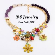 Fashion Crystal Glaze Flower Pendant Necklace Women Stone Chain Necklace Statement Jewelry Free Shipping $12.07