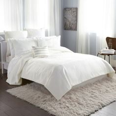 LOVE....DKNY® City Line King Duvet Cover in Ivory - BedBathandBeyond.com