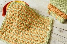 The bright and cheerful effect really shines through this Cheerfully Simple Dishcloth as it uses three fun crochet colors. Crocheted dishcloths like this can be made in sets or kept as single dishcloths.
