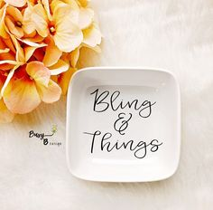 Bling & Things Jewelry Dish//Jewelry Dish//Ring Dish//Gift//Gifts for Her//Birthday Gift//Bridal Shower Gift//Wedding Gift//Bling and Things by BusyBDesign3 on Etsy https://www.etsy.com/listing/455407412/bling-things-jewelry-dishjewelry