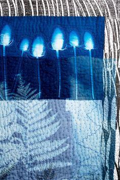 Pauline Burbidge, Starscape detail, 2015, collage, stitch & print. Photo Phil Dickson PSD Photography