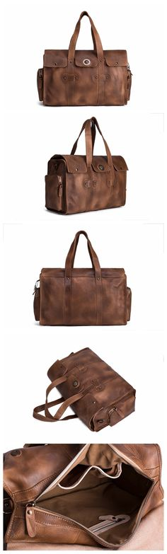 Handmade Vegetable Tanned Leather Tote Bag, Travel Bag, Overnight Bag, Duffle bag