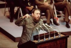 Fidel Castro addressing the crowd at an event commemorating the twentieth anniversary of Cuba's victory at the Bay of Pigs in Havana, Cuba, April 19, 1981.