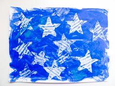Star stamp art activity for the kiddies, inspired by Jasper Johns.