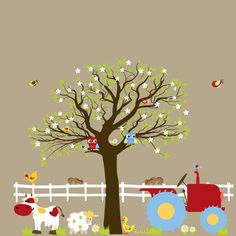 Custom listing Vinyl Wall Decals Farm Set Tree with Barn,tractor,fence,horse,cow,pig,lamb,ducks,nursery playroom wall sticker mural