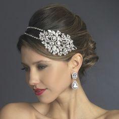 Glamorous Double Band Bold Side Accent Rhinestone Wedding Headband - Affordable Elegance Bridal -