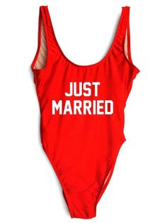 JUST MARRIED One-Piece Slogan Swimsuit