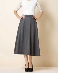 grey women's vintage retro artistic 3.2 meters of wool skirt circumference long wool dress maxi skirt  S-XL on Etsy, $49.00