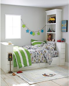 Love the colours, great storage idea for A's small room. Actually will copy exactly for A one day. Love it all!
