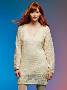 Symphony - Knit this womens lace tunic, from Knitting & Crochet Magazine 56 designed by Lisa Richardson, using luxurious Fine Lace (baby suri alpaca & fine merino wool). With V neck and long shallow set in sleeves, this pattern is for the intermediate knitter.
