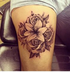 tattoo more rose tattoo rose and lily tattoos calla lily tattoo Calla Lily Tattoos, Tiger Lily Tattoos, 3d Rose Tattoo, Tattoo Arm, Lily Tattoo Sleeve, Sleeve Tattoos For Women, Tattoo Girls, Tattoo Designs For Girls, Thigh Tattoos For Girls