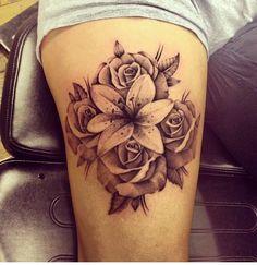 tattoo more rose tattoo rose and lily tattoos calla lily tattoo Calla Lily Tattoos, 3d Rose Tattoo, Tattoo Arm, Tattoo Girls, Tattoo Designs For Girls, Thigh Tattoos For Girls, Arm Tattoos For Women Upper, Girl Tattoos, Lily Tattoo Sleeve