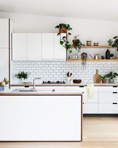 Browse photos of modern kitchen designs. Discover inspiration for your minimalist kitchen remodel or upgrade with ideas for storage, organization, layout and . Kitchen Ikea, New Kitchen, Kitchen Decor, Kitchen White, Kitchen Island, Kitchen Rustic, Kitchen Shelves, Kitchen Small, Kitchen Plants