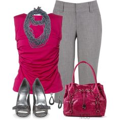 Pink and Grey by mclaires on Polyvore featuring Armani Collezioni, Stuart Weitzman, Jessica Simpson, Jianhui and 1928