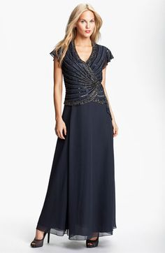 J Kara Embellished Mock Two-Piece Gown available at #Nordstrom,this dress is pretty I like the cap sleeves.